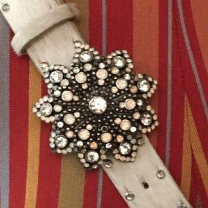 Leather/hide studded belt w/ embellished buckle
